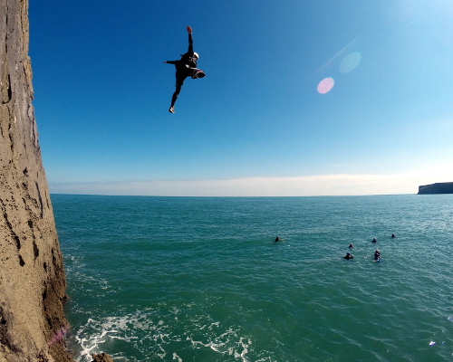 Coasteering cliff jump